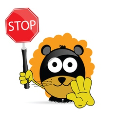 sweet and cute lion with sign stop vector image vector image
