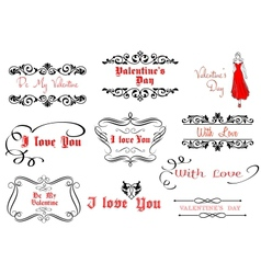 Calligraphic elements for Valentines Day design vector image vector image