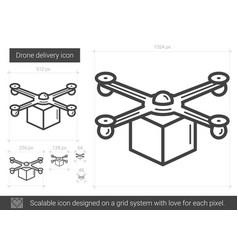 Drone delivery line icon vector