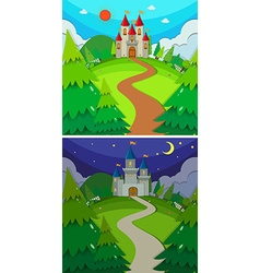 Scenes with castles in the forest day and night vector image vector image