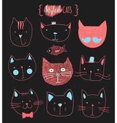 Set of cute doodle cats Sketch cat Cat handmade vector image