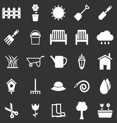 Gardening icons on black background vector