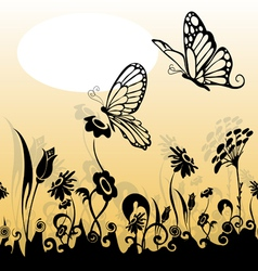 grass and butterfly silhouette vector image