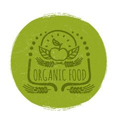 grunge organic food label or banner design vector image vector image