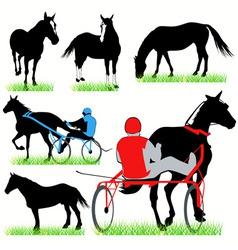 jockeys and horses set vector image vector image