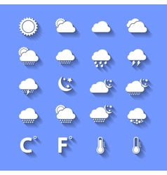 White Weather Icons With Shadows vector image vector image
