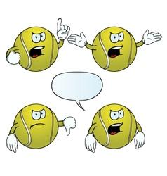 Angry tennis ball set vector image vector image