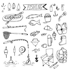 doodle fishing rods floats vector image vector image