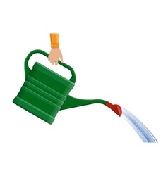 Hand with green plastic watering can vector image