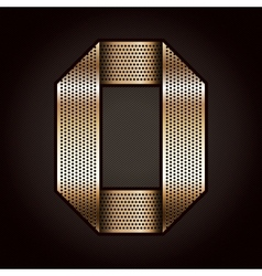 Number metal gold ribbon - 0 - zero vector image vector image