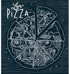 Poster love pizza blue vector image vector image