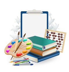 school items composition background with brushes vector image vector image