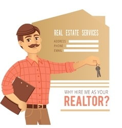 The concept of real estate services Agent showing vector image