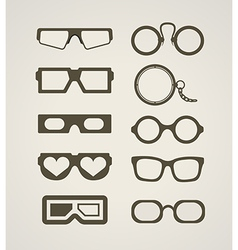 Vintage and modern glasses collection vector image