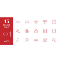 15 video icons vector image