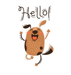 a happy dog greets you hello vector image