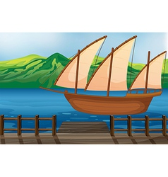 A wooden ship vector