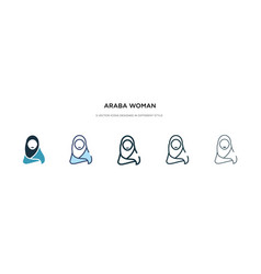 Araba woman icon in different style two colored vector