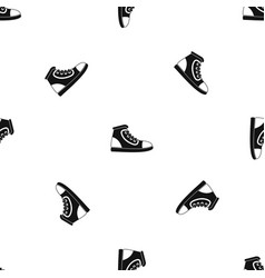 athletic shoe pattern seamless black vector image
