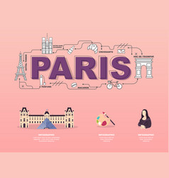 attractive landmark icons for traveling in paris vector image