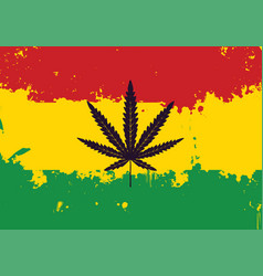 Banner for legalize marijuana with rasta flag vector