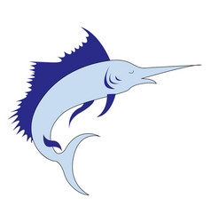 big marlin on white background vector image