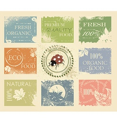 BIO ECO ORGANIC Labels Collection vector image