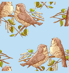 Birds are sitting on a branch in a spring day vector