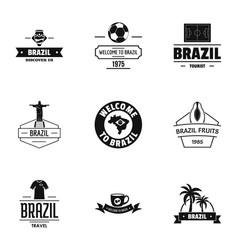 Brazilian land logo set simple style vector