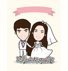 bride wedding and groom and flower beautiful vector image