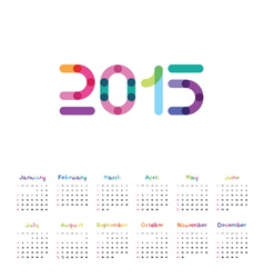 Calendar for 2015 with a color font vector