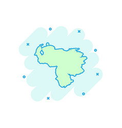 cartoon venezuela map icon in comic style vector image