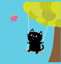 cat ride on swing green tree flying pink bird vector image