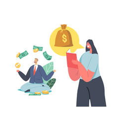 Characters earning money getting passive income vector