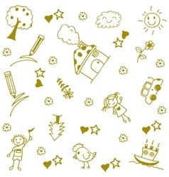 Childs happy doodle art vector
