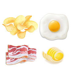 cholesterol food icons fried eggs bacon chips vector image