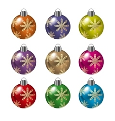 Christmas balls in various colors vector image
