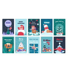 christmas greeting cards winter holiday postcards vector image