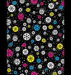 Christmas seamless pattern with color snowflakes vector