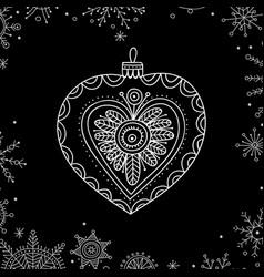 christmas tree decoration bauble line art vector image