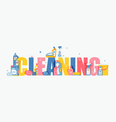 cleaning typography flat vector image