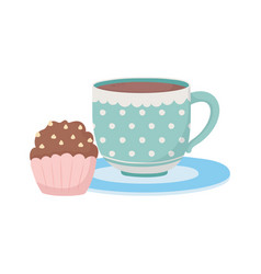 Coffee time and tea cup and sweet cupcake vector