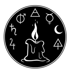 Composition with burning candle and magic symbols vector