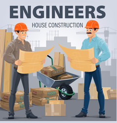 construction engineers building architects vector image
