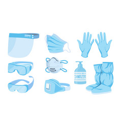 Corona suit medical personal protective suit vector