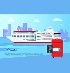 Cruise ship and luggage poster vector