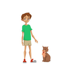 cute boy with his dog colorful cartoon vector image