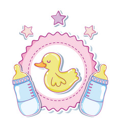 Cute duck cartoons with baby bottles vector