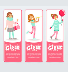cute smiling girls in different situations girls vector image