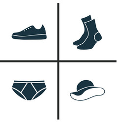 Dress icons set collection of sneakers briefs vector
